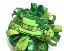 Large Green Loopy Boutique Hair Bow for Toddler - St Patrick's Day Hair Bow - Leprachaun Hat Hair Bow - St Patties Day Hair Clip Barrette