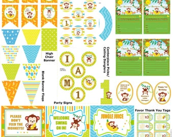 DIY Monkey 1st Birthday Party, Monkey Party Supplies, DIY Monkey Party Printables, Monkey Party Decorations, Monkey Party -Printables 4 Less