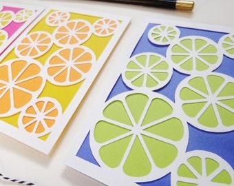 Citrus Fruit Stationery Set- Laser Cut- Note Card- Thank you- Stationery- Lemon Slice- Orange Slice- Lime Slice- Geometric- Letter Writing