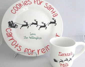 Personalized Cookies for Santa Plate and Santa's Milk Mug set