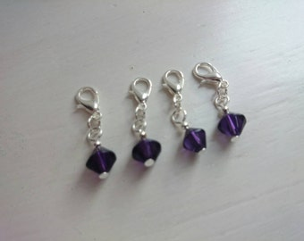 Glass bead stitch markers - Purple
