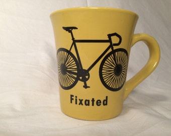 Funny yellow fixated bicycle mug  Fixie bike mug the tour Tour de France lead bike