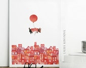 Dog Floating Over City - Print of Watercolour Illustration