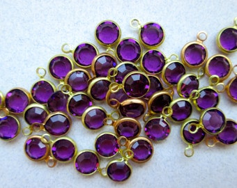 14 Vintage Amethyst and Brass Drops/Charms