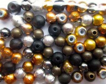 Destash of Metal and Black Finished Beads