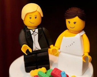 Custom fondant  Lego Bride and Groom wedding cake topper
