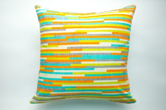 Modern Family Pillow Stripe : Modern Striped Decorative Throw Pillow Cover Home by ThimbleAndTag