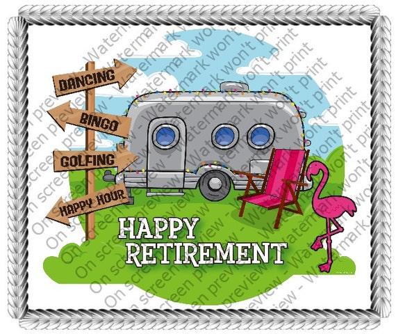 Retirement Cake Clip Art : Happy Retirement Camper Birthday Edible Cake and Cupcake