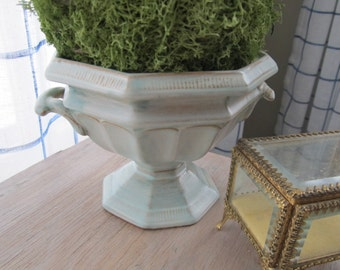 Vintage Hand Painted Terra Cotta Planter Italian Florentine MATTE Ceramic Urn Cottage Chic Aqua Blue NEOCLASSICAL Garden Topiary Pot Gift