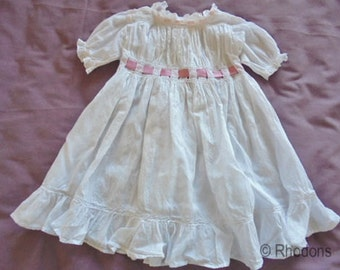 Antique Victorian Baby Dress Gown  - Frilled Cutwork Lawn - Handmade