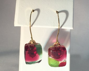 Fused Art Glass Earrings - olive green/pimento red