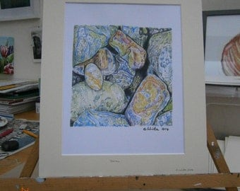 Mounted limited edition colour print of pebble drawing