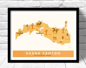 Grand Canyon National Park Map Print Outdoors Wall Art Hiking Explorer