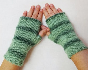 Fingerless Gloves mittens Knitted striped green arm hand warmer