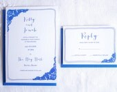 Luxe wedding invitation & RSVP with blue and white lace print.