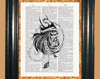 Viking Norseman Art -- Vintage Dictionary Book Page Art - Upcycled Page Art - Collage Mixed Media Art