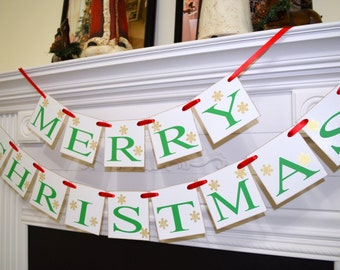 Merry CHRISTMAS Banner, Holiday Mantle Garland, Holiday Photo Banner, Vintage Inspired Holiday Banner, Christmas Banner, Christmas Decor