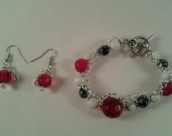 Red, Black and White Chained Bracelet