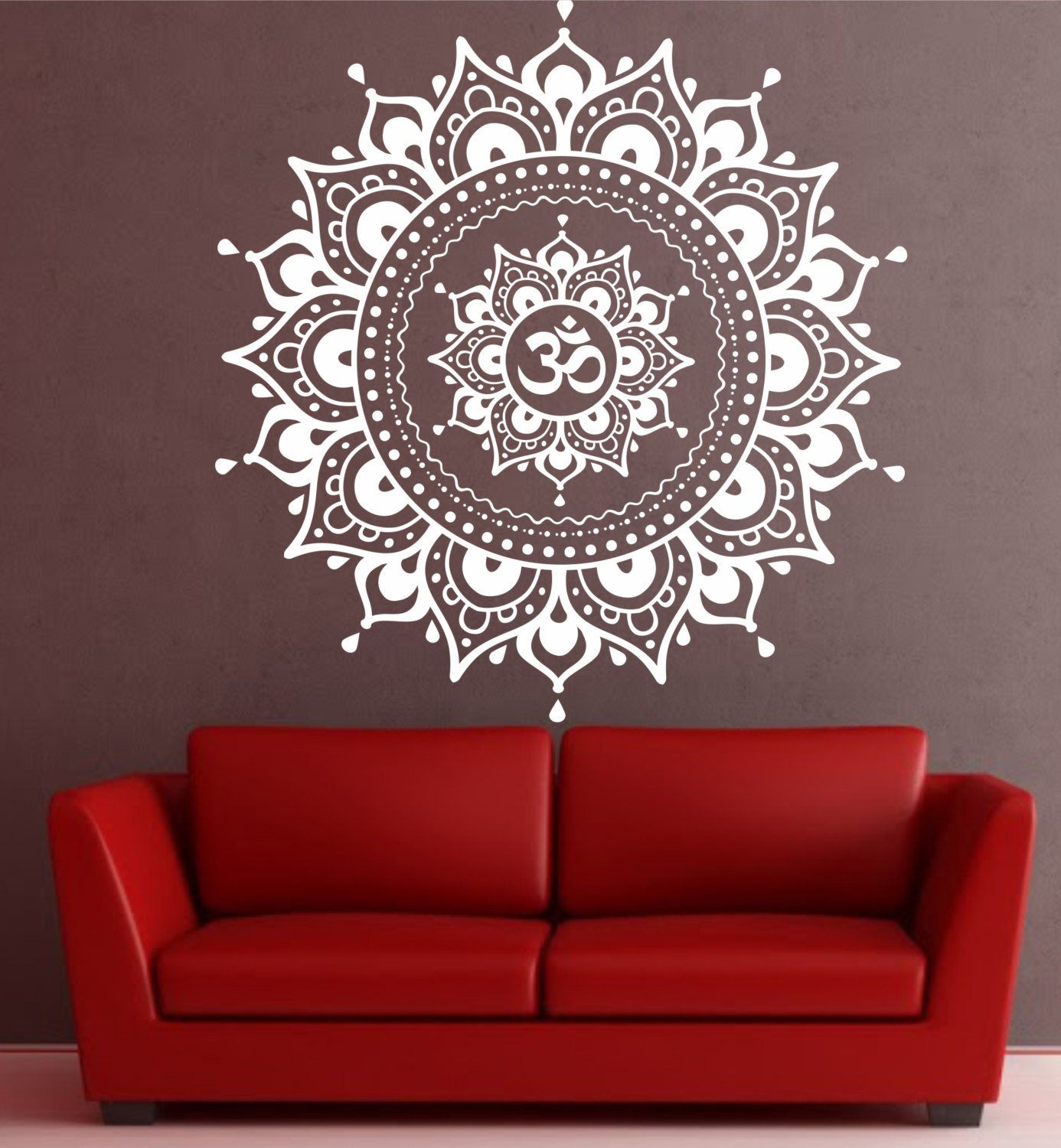 Mandala etiqueta de la pared mandala etiqueta yoga om namaste for Stickers de pared