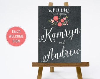 PRINTABLE 18x24 Chalkboard Pink coral Floral Wedding Welcome Sign - Print Poster Board - Chalk Design