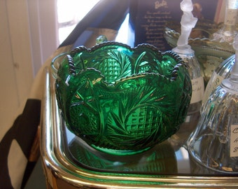 Vintage Pressed Glass Green Bowl, WAS 20.00 - 25% = 15.00