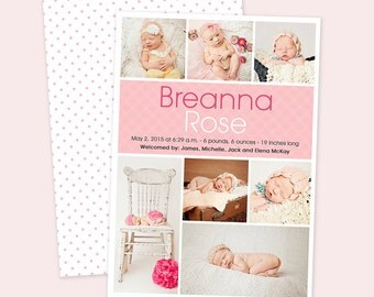 Personalized Baby Girl Multiple Photo Collage Birth Announcement - Digital File You Print