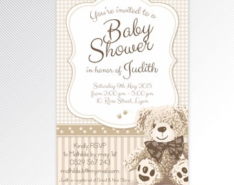 Beige teddy bear baby shower invitation, digital invitation