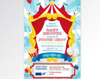 Turquoise carnival / circus baby shower printable invitation