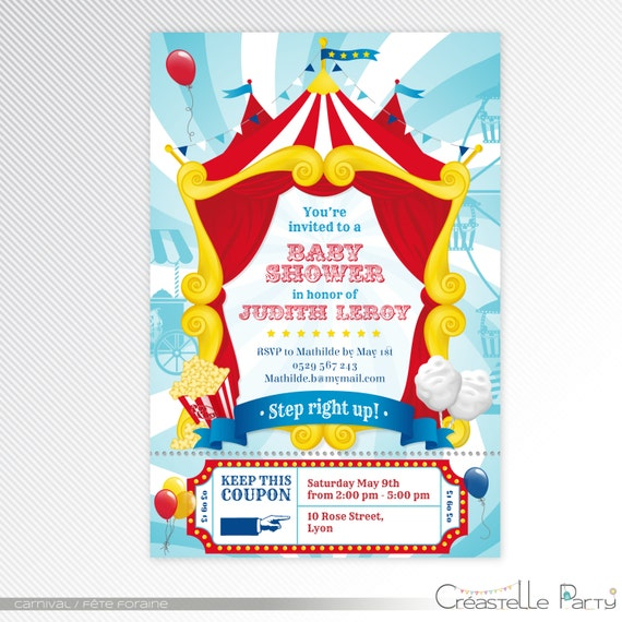 turquoise carnival circus baby shower printable invitation