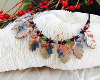 Oak Leaf Polymer Clay Necklace
