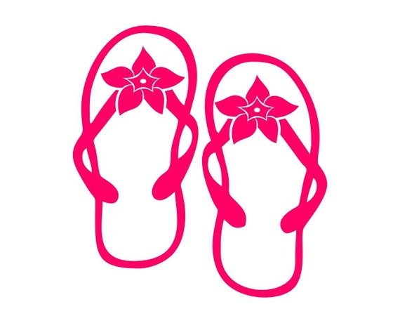 Flip Flop Flowers Decal For Car Window Locker Laptop And