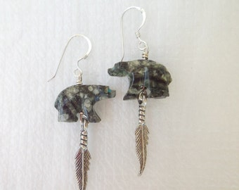 Serpentine bear carvings with sterling silver feather handmade dangle earrings