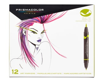 Sanford Prismacolor Premier Brush|Fine Double Ended Art Markers Primary/Secondary Colors, Set Of 12 - #1773297