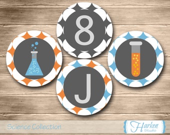 Science Birthday Party Circles, Printable Chemistry Party Circles, DIY, Digital, Personalized, Blue, Orange, Decorations