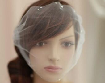 swarovski crystals birdcage veil,Bridal mini veil with swarovski crystals  rhinestones - Rhinestone adorned mini tulle veil----v625