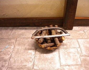 Doll House Fireplace Wicker Style Log Basket with Saw