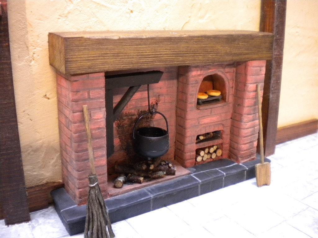 dolls house fireplace tudor red brick with open oven log