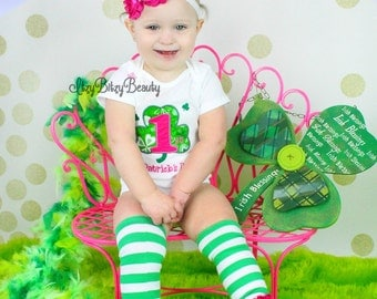 First st patricks day baby girl outfit embroidered bodysuit headband legwarmer