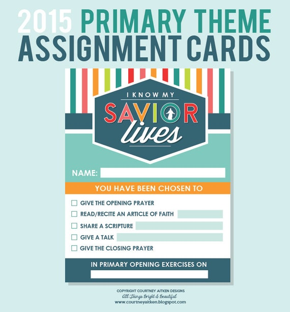 2015 Primary Assignment Cards Sharing Time by CourtneyAitkenDesign