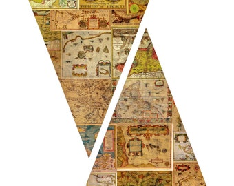 Travelers, adventurers jules verne steampunky A4 Bunting printable birthdays bon voyage 99p download party supplies to print