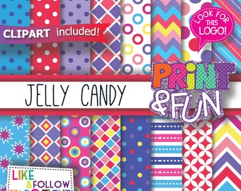 Jelly Candyland, Patterns, Digital Paper, clip art, clipart, png, purple, Pink, Blue, Yellow, chevron, for party printables invitations