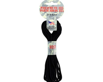 21' Black 325 Parachute Cord, Pepperell brand, 325 Parachute cord, Black parachute cord, 21 feet, 6.4m - Great for slipknot Hash Necklaces