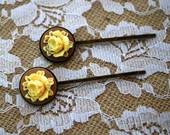 Flower Hair Pin Set - Floral Hair Pin Set - Floral Cameo Hair Accessories - Brown And Ivory Hair Pin Set - Hair Accessories-Vintage Inspired