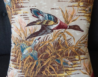 "Mid Century Barkcloth Pillow Cover ""Mallard"" 20"" Vintage Wildlife Den Retro"