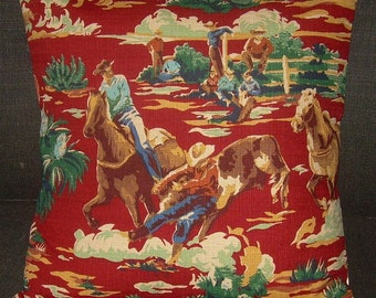 """Western Pillow Cover Barkcloth 20"""" Cowboys & Cattle """"Ride'm Cowboy"""" Mid Century"""