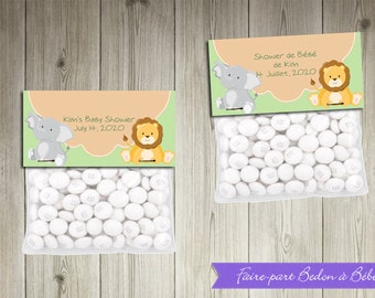 Baby Shower Jungle Treat Toppers - Printable Baby Shower party decorations - Jungle