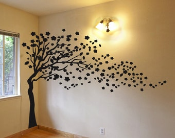 6ft Tree Decal - Wind Blowing 6ft Tree Wall Decal Art Sticker Mural - FREE SHIPPING!