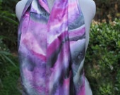 Purple and gray hand painted silk scarf.