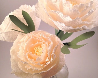Peony single crepe paper flower, pink and off white