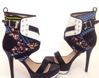 Ankara Shoes// Motorcycle Spiked heels
